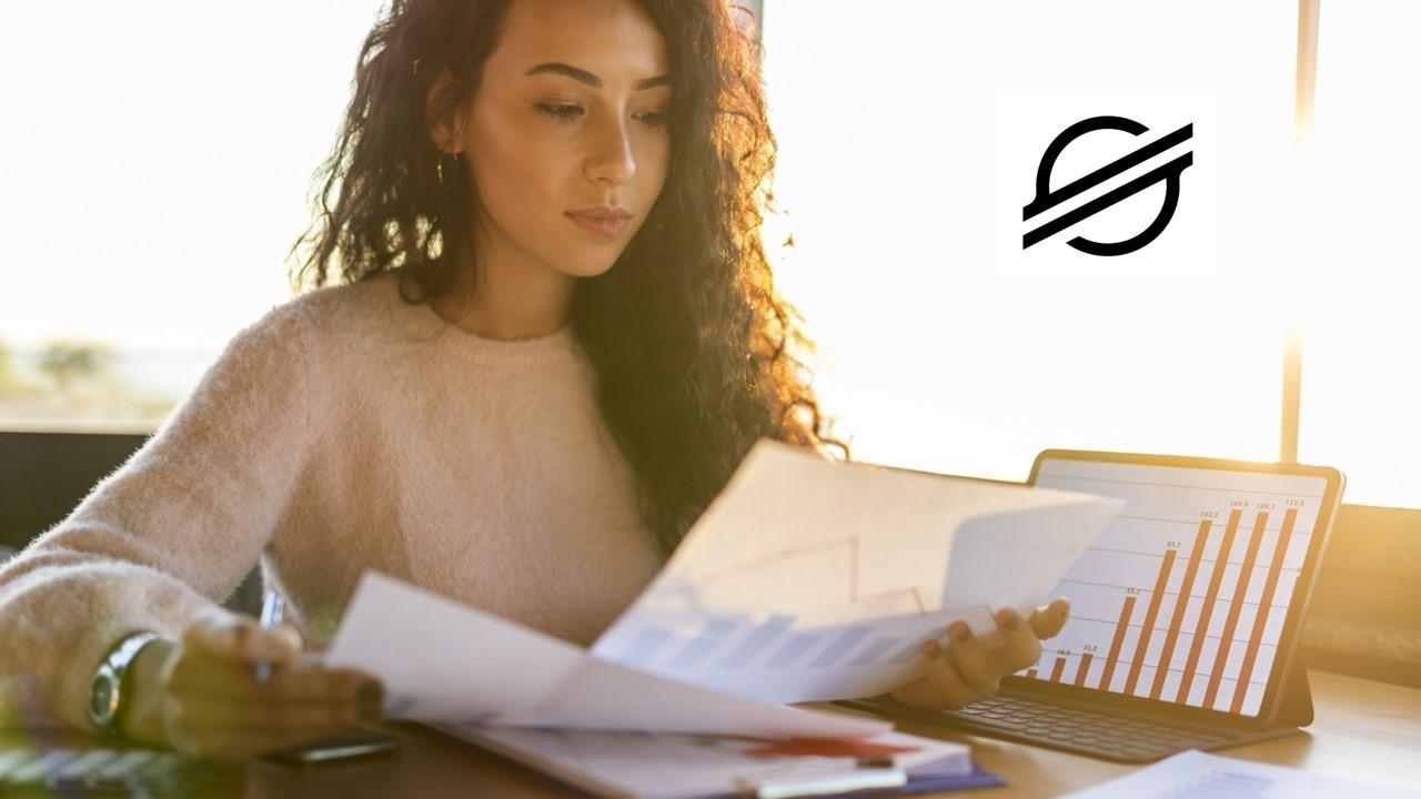 Woman looking at data and Stellar logo