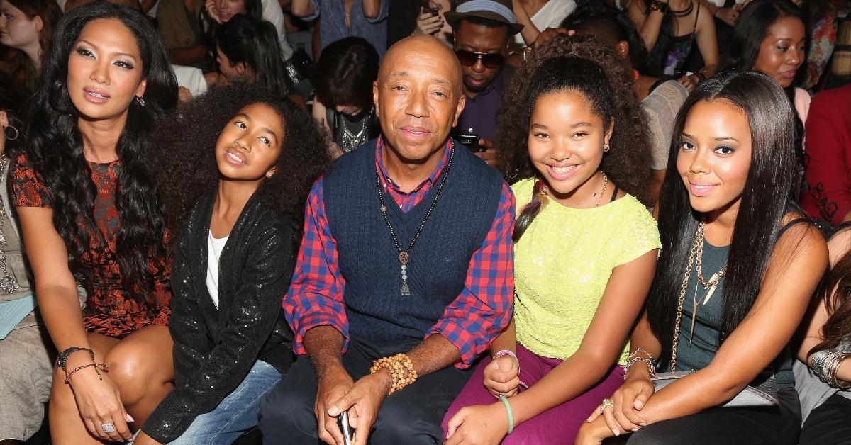 Russell Simmons avec Kimora Lee et ses filles Ming Lee, Aoki Lee et sa nièce Angela Simmons.
