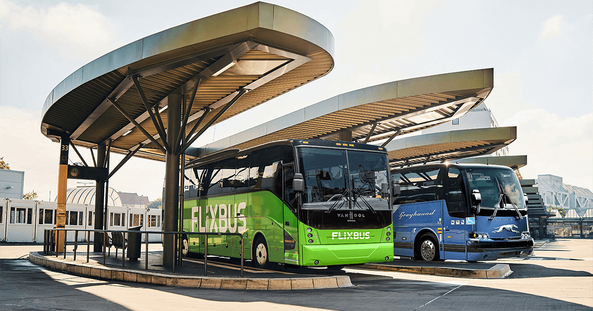 A FlixBus parked at a terminal