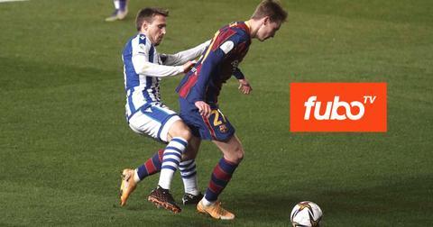 Soccer players and FuboTV logo
