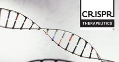 CRISPR Therapeutics logo over DNA sequence