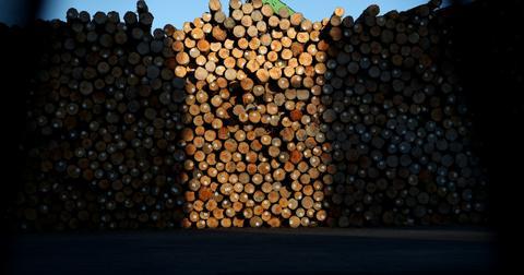 Large stack of lumber