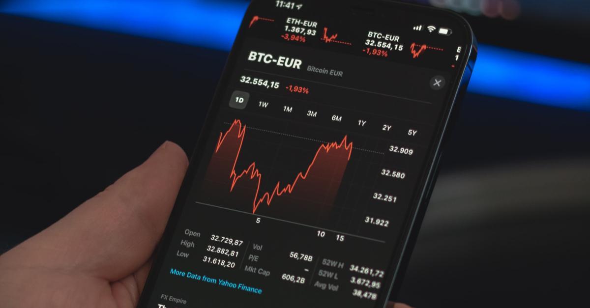 Bitcoin price chart on smartphone