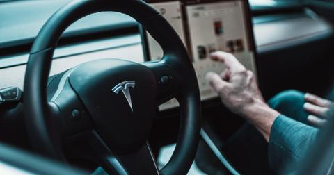 Tesla car interior with Autopilot