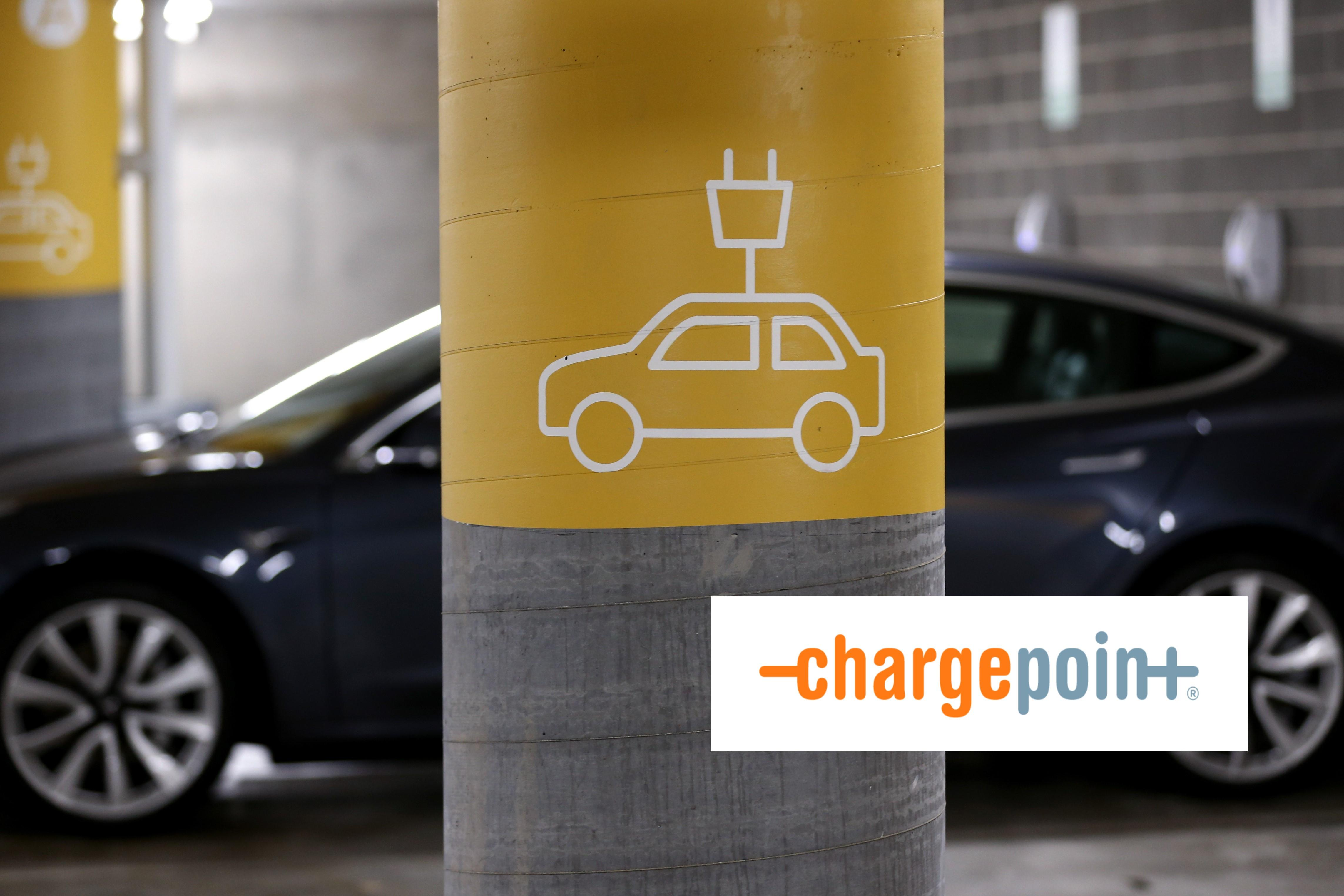 ChargePoint logo over EV charging