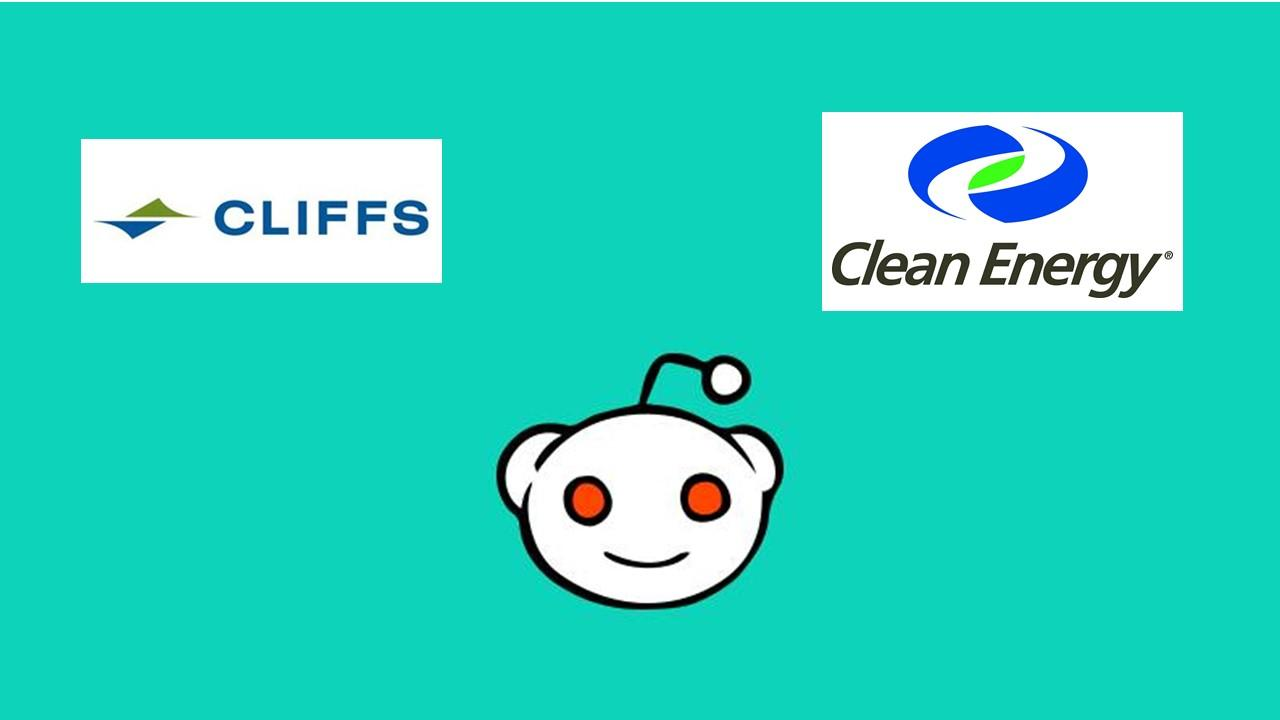 Reddit logo with Cleveland-Cliffs and Clean Energy Fuels logos