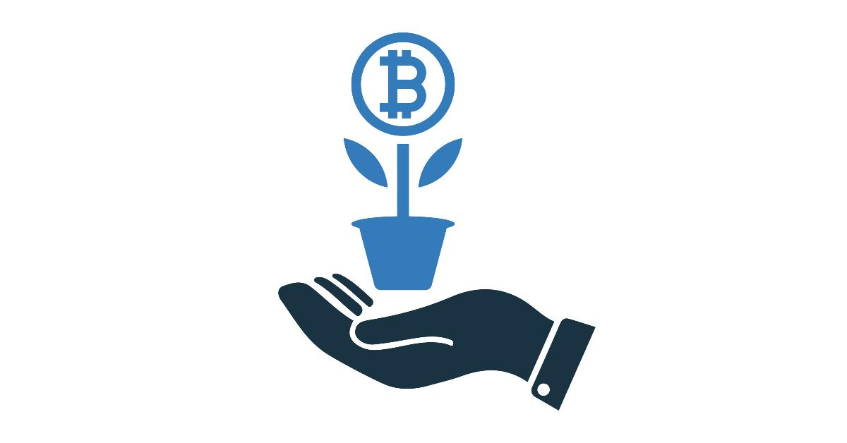 An illustration of a hand holding a bitcoin plant