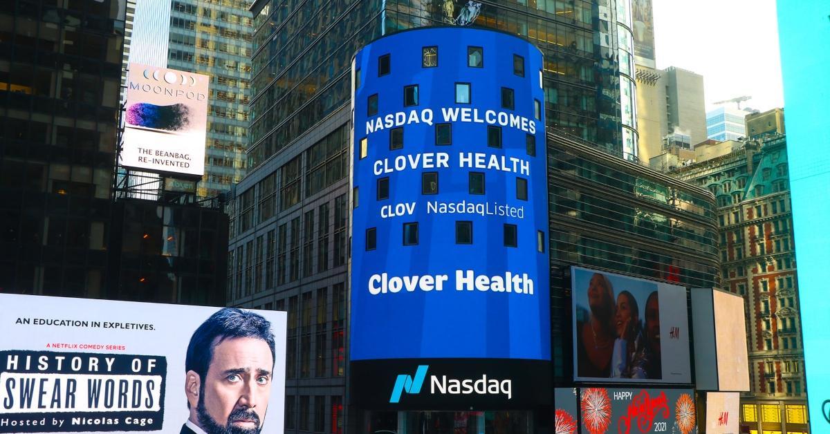 Clover Health on Nasdaq sign