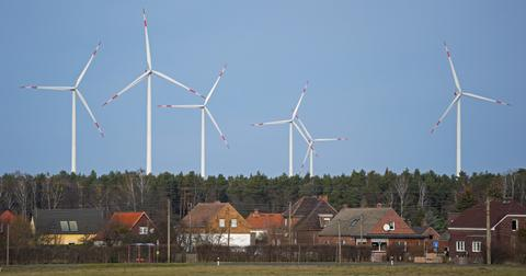 Clean energy wind power over landscape
