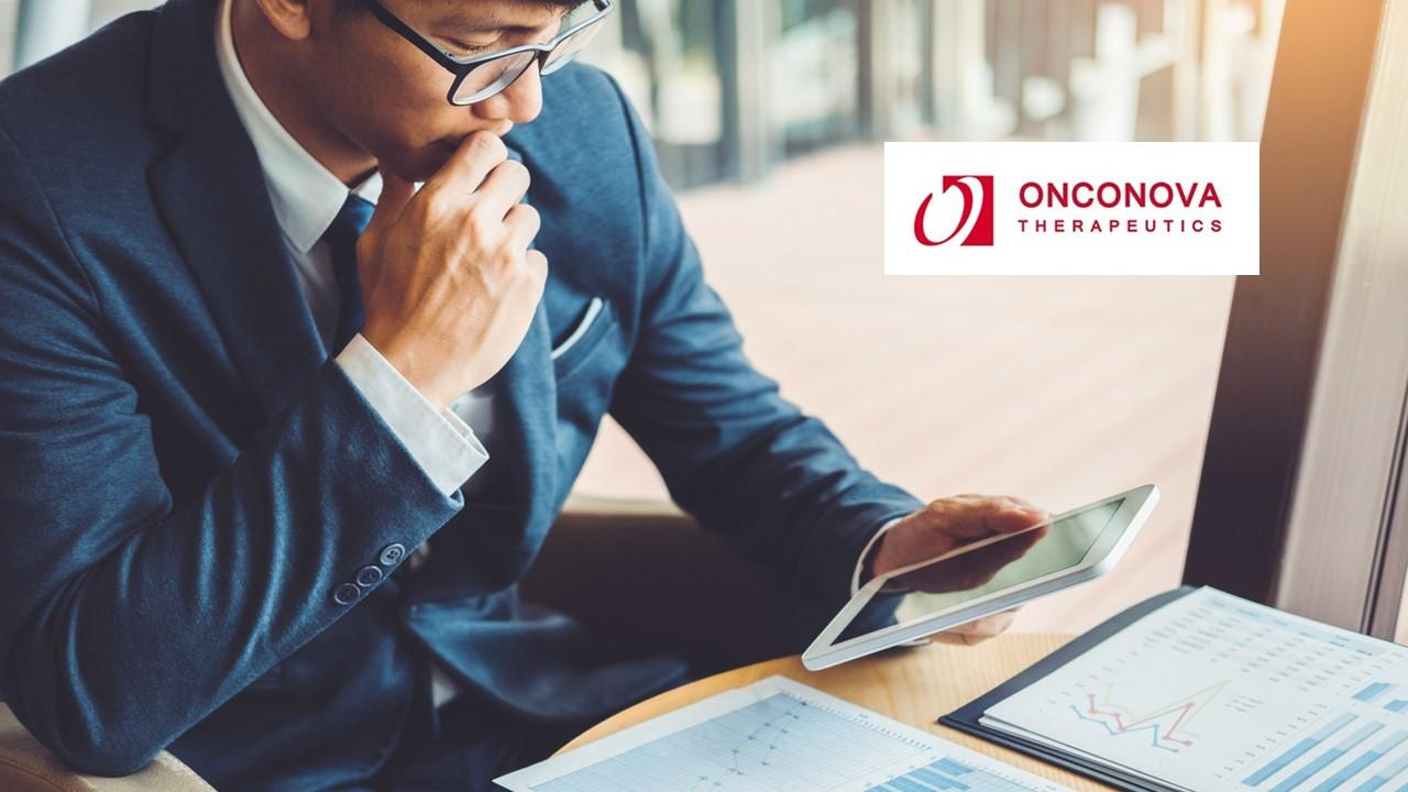 Man looking on a tablet and Onconova Therapeutics logo