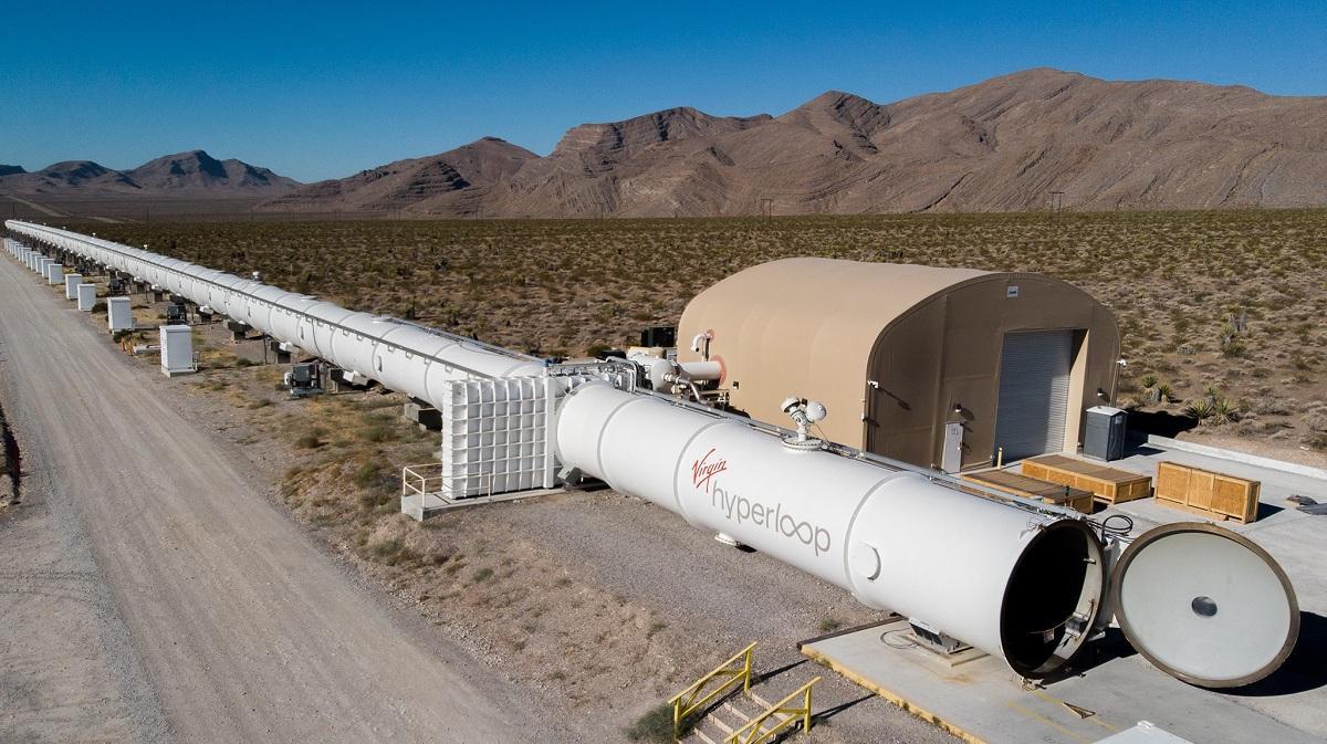 Virgin Hyperloop 500m of testing track in the desert