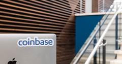 Coinbase sticker on laptop in company headquarters