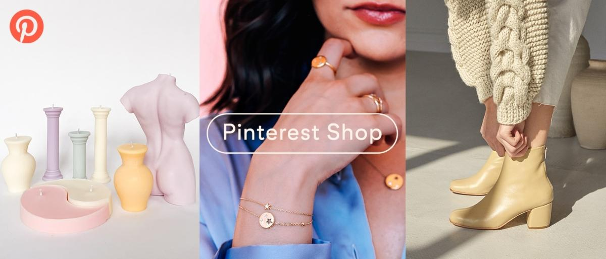 Pinterest Shop graphic of a person modeling jewelry and clothes