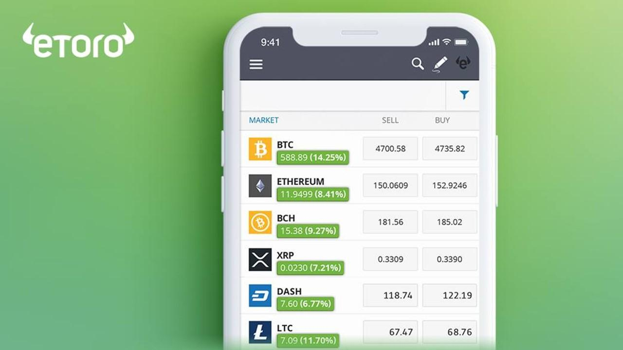 eToro app on a cellphone