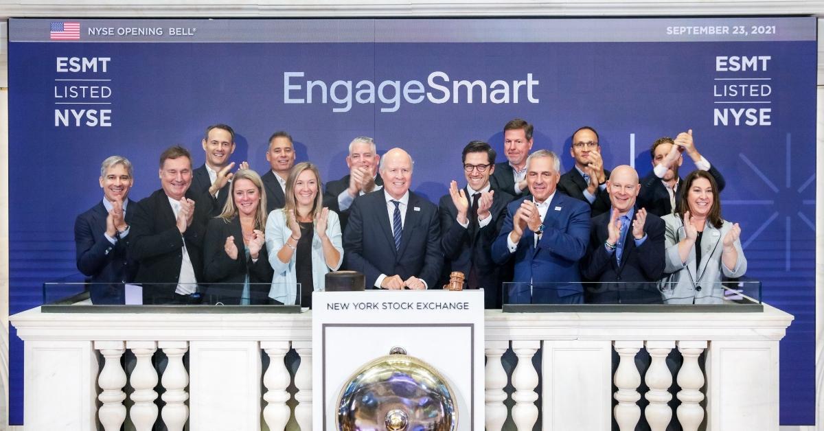 People posing at EngageSmart's IPO