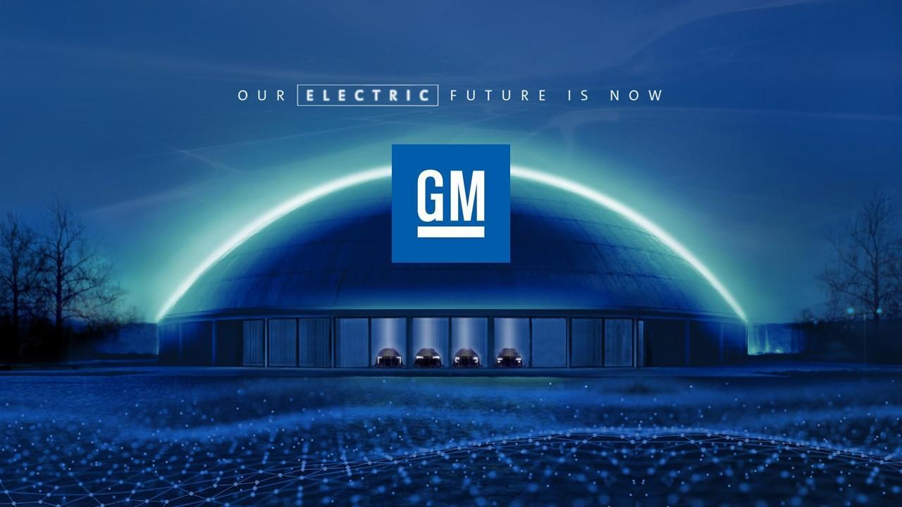 GM EV ad and logo