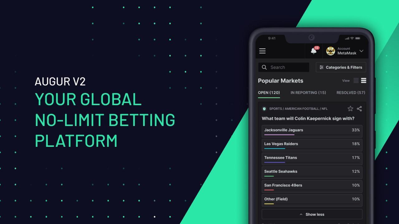 Augur betting platform on a cellphone