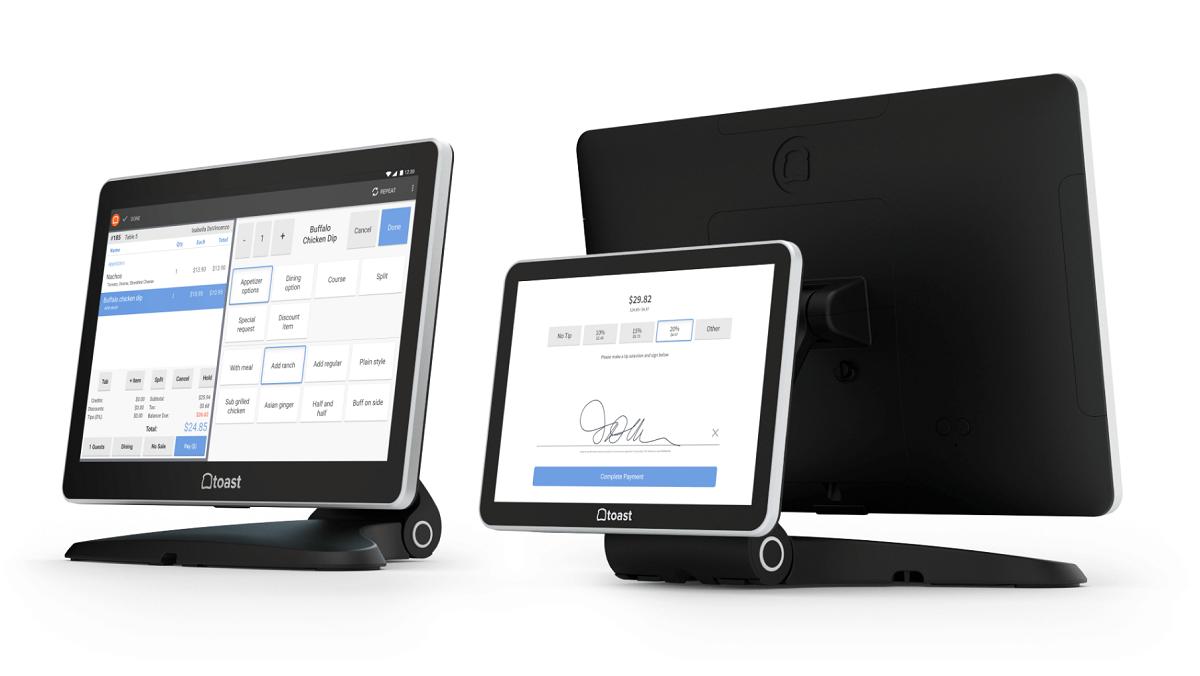 The Toasttab App displayed on monitors