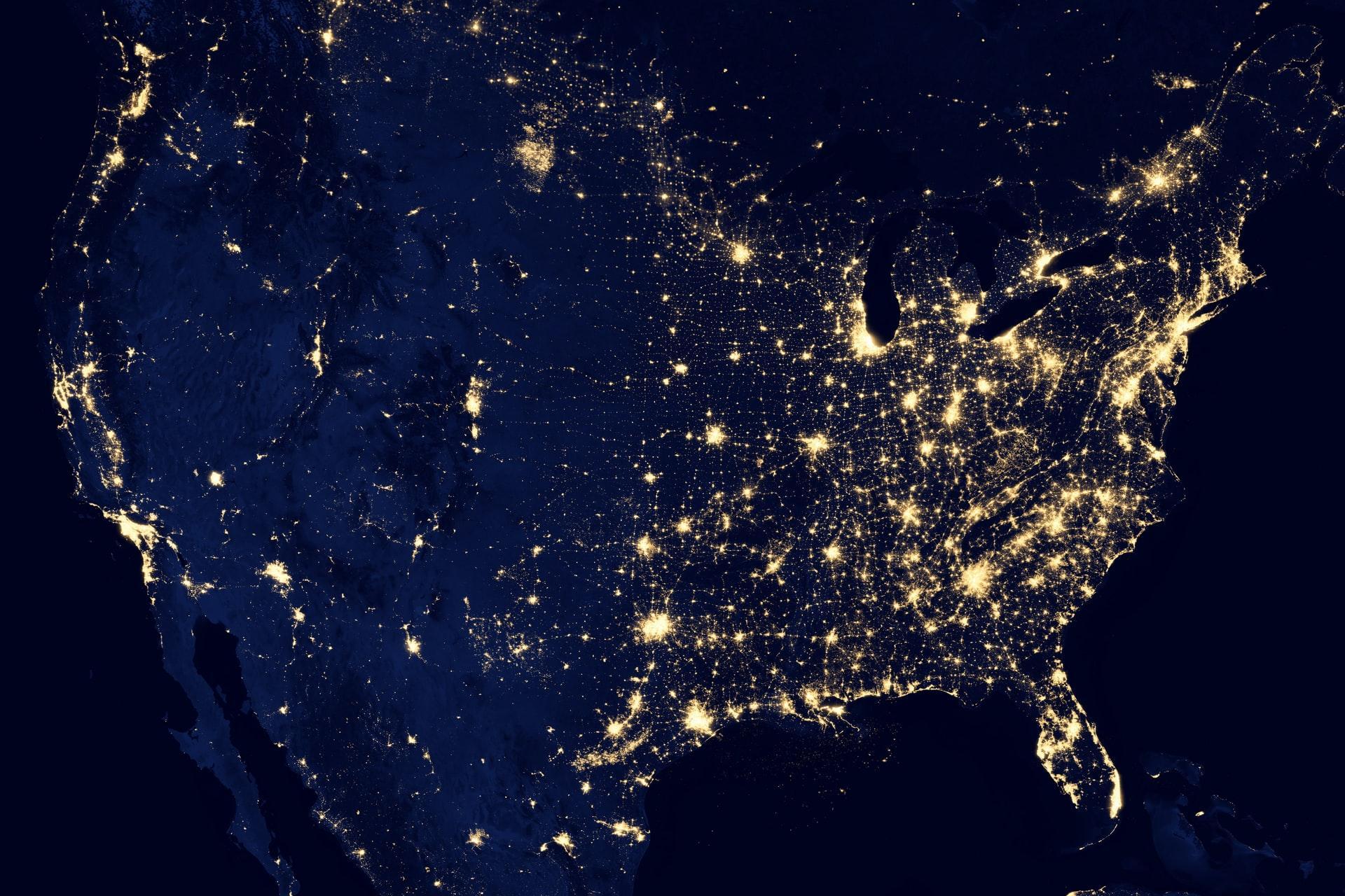 Map showing satellite internet