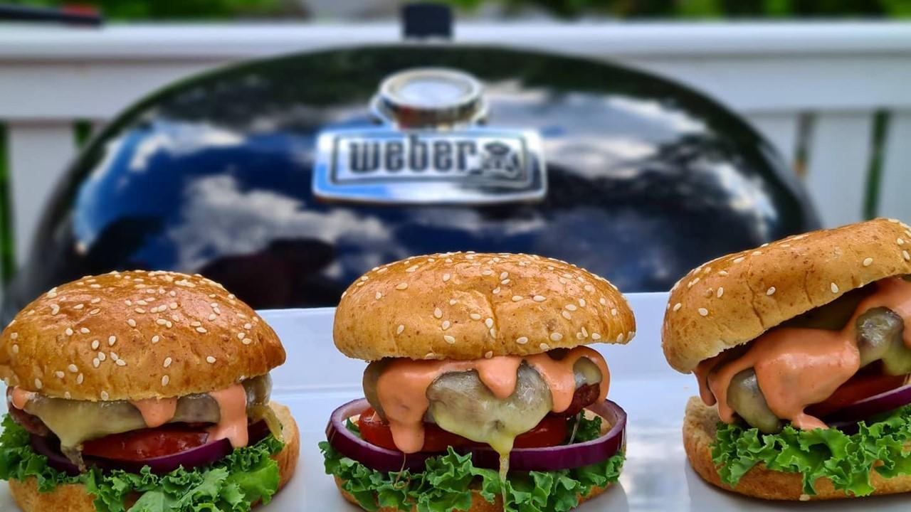Weber grill and burgers