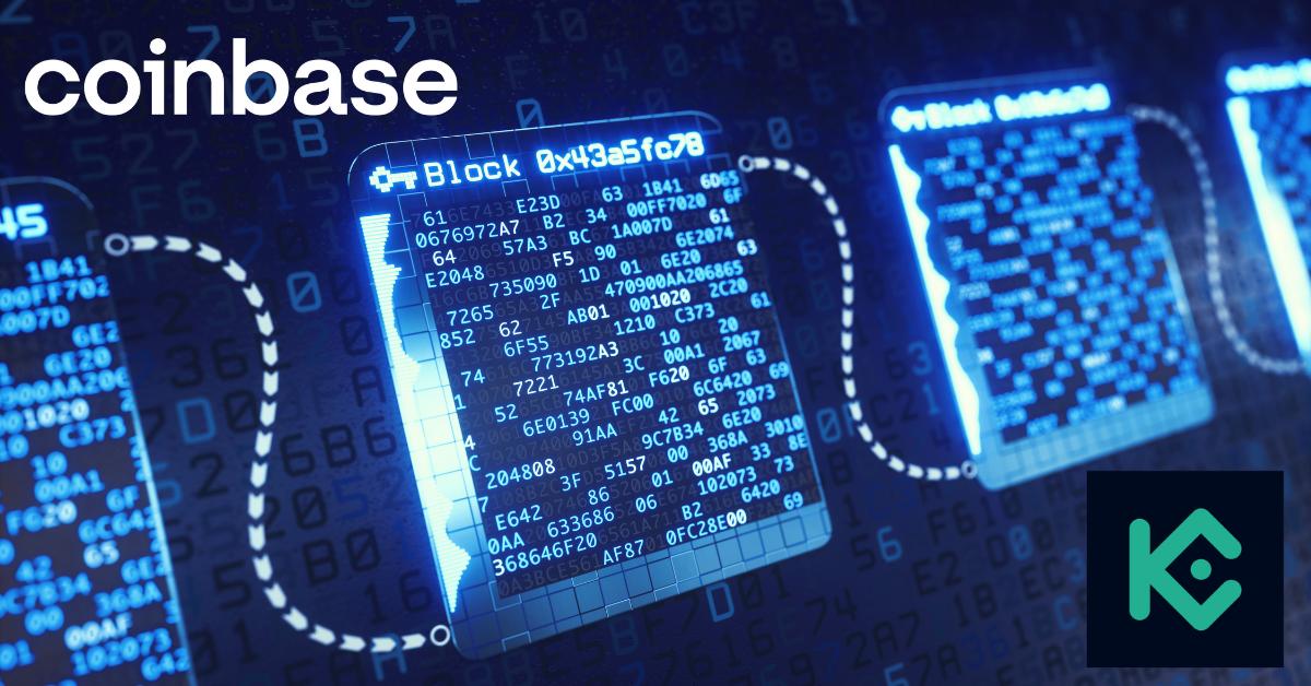 Coinbase and KuCoin logos over blockchain