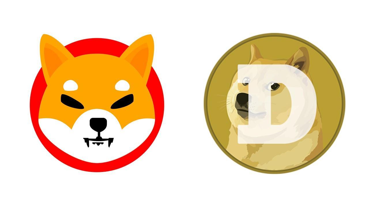 Shiba Inu and Dogecoin logos