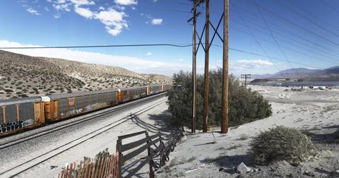 Freight train on railroad