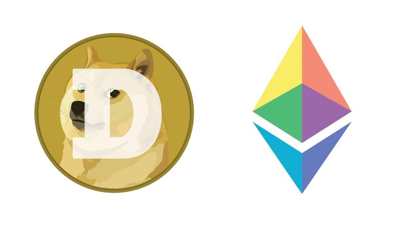 Dogecoin and Ethereum logos