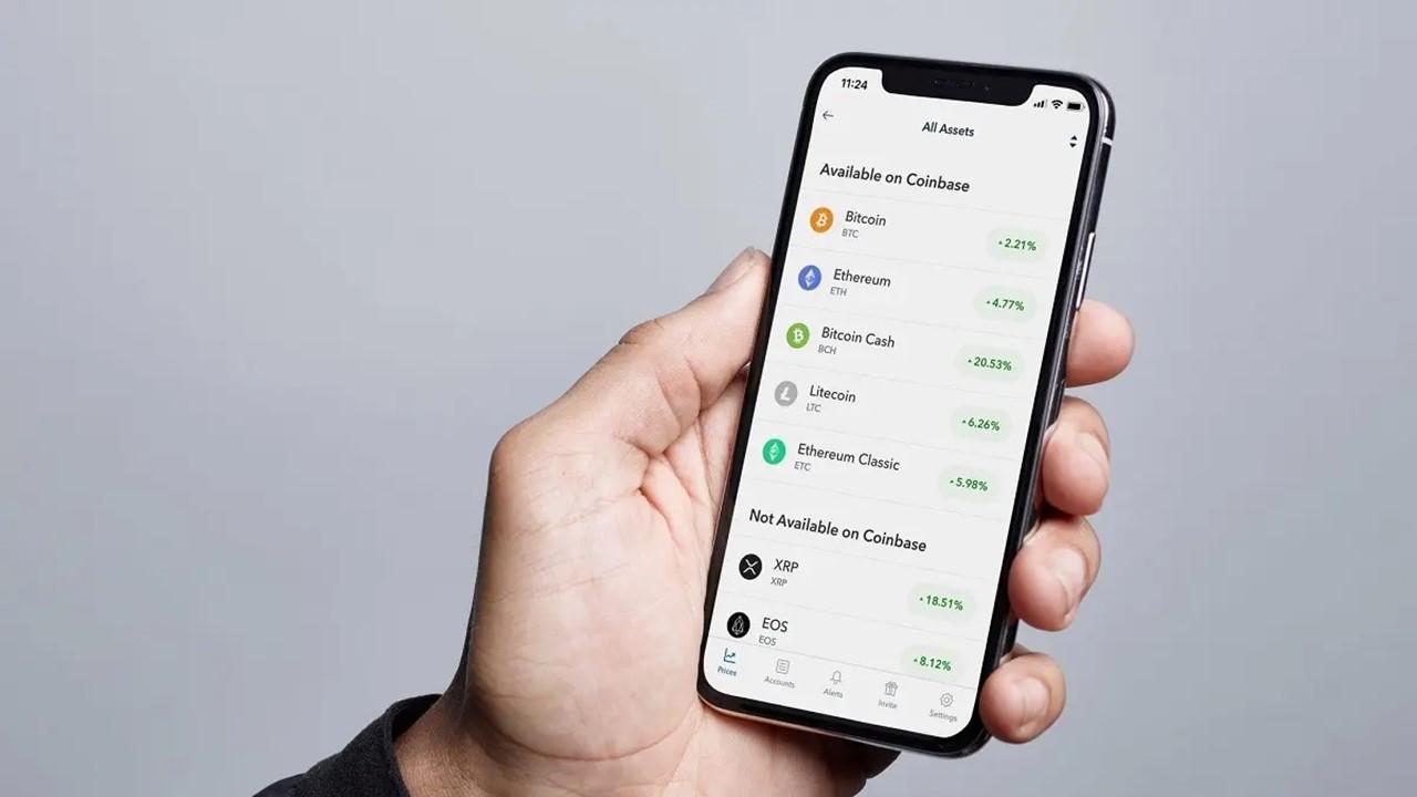 Coinbase app on a smartphone