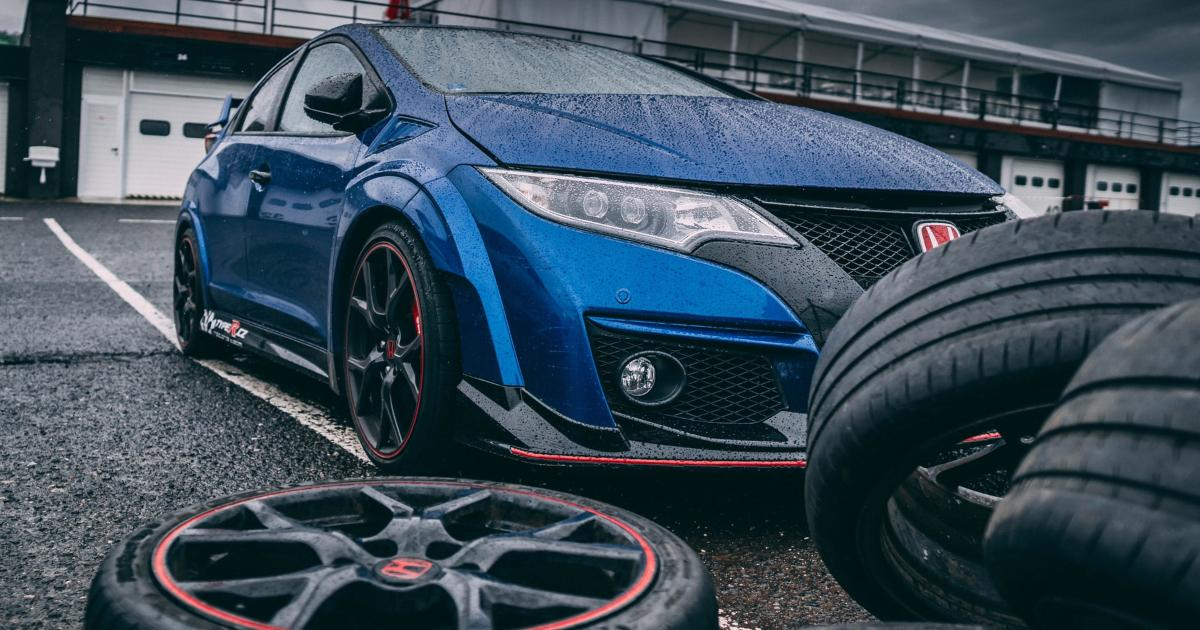 Blue car with tires