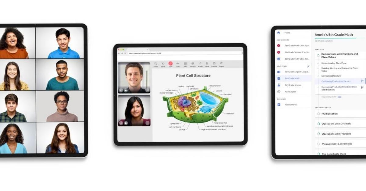 Nerdy online education platform displayed on tablets