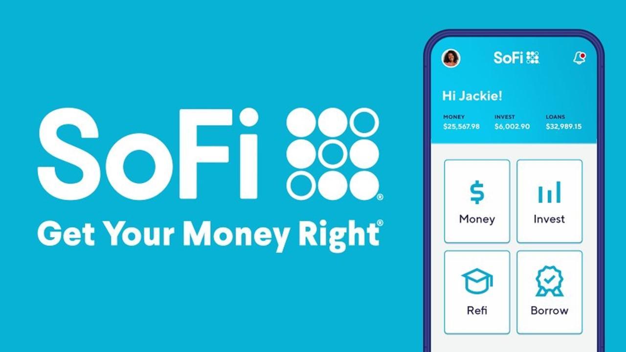SoFi logo and app on a cellphone