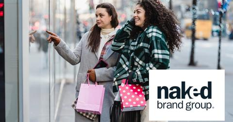 Women looking in a shop window and Naked Brand Group logo