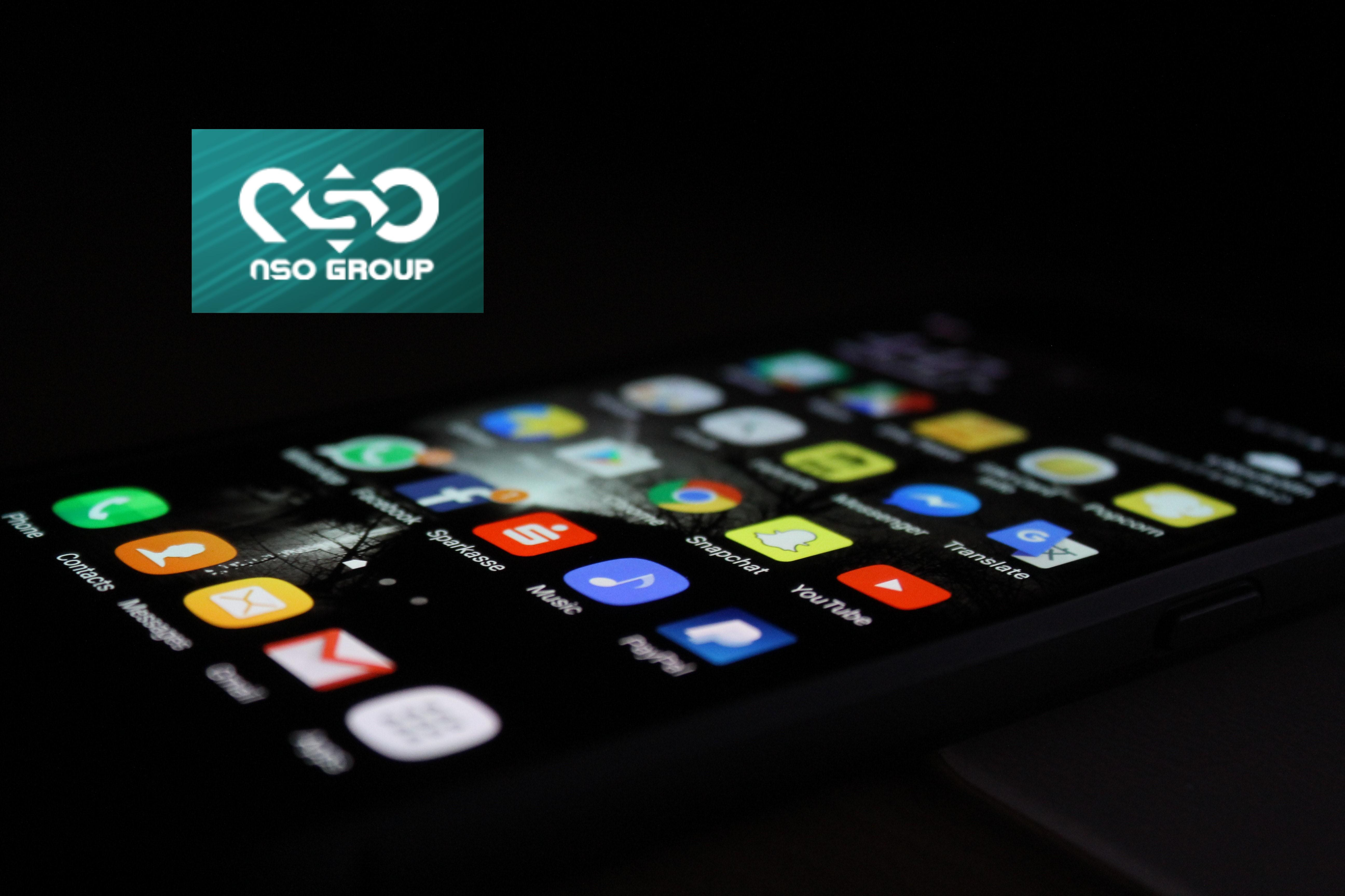NSO Group logo over image of smartphone