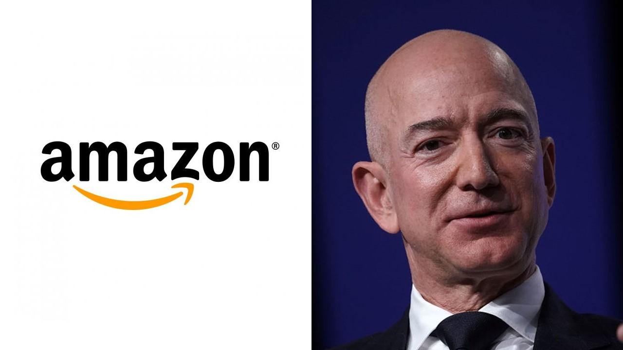 Amazon logo and Jeff Bezos
