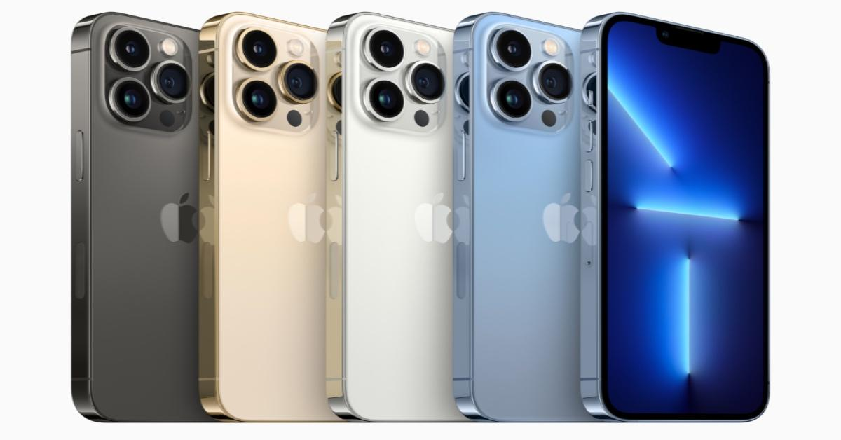 Five iPhones of different colors