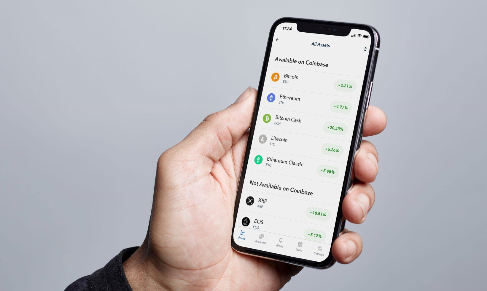 Altcoins on the Coinbase app
