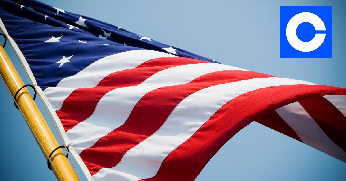 U.S. flag and Coinbase logo