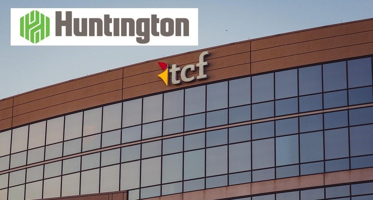 Huntington logo over TCF corporate office