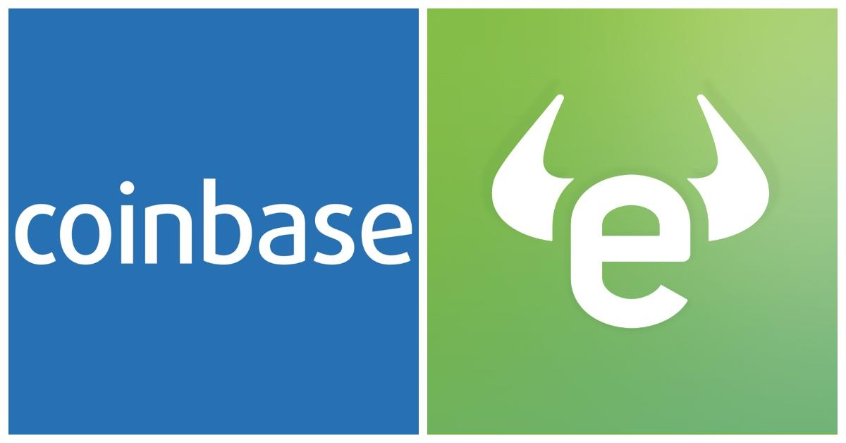 Logos for Coinbase and eToro, competing cryptocurrency trading platforms.