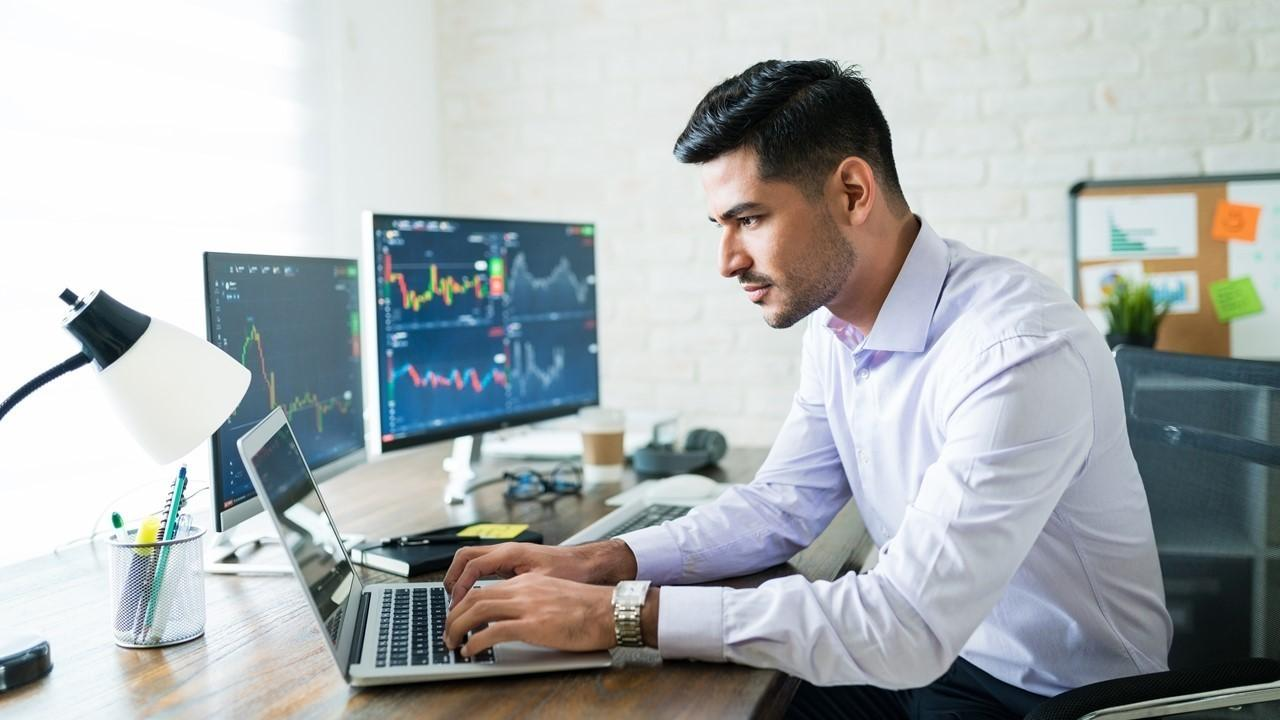 Investor looking on a laptop