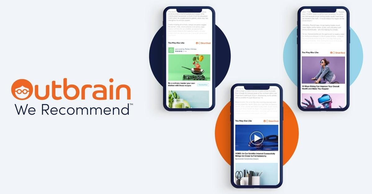 Outbrain logo and three smartphones with the app