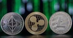 Mockup coins of popular cryptocurrencies