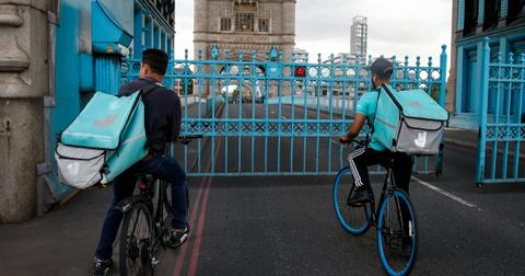 Deliveroo delivery riders in the UK