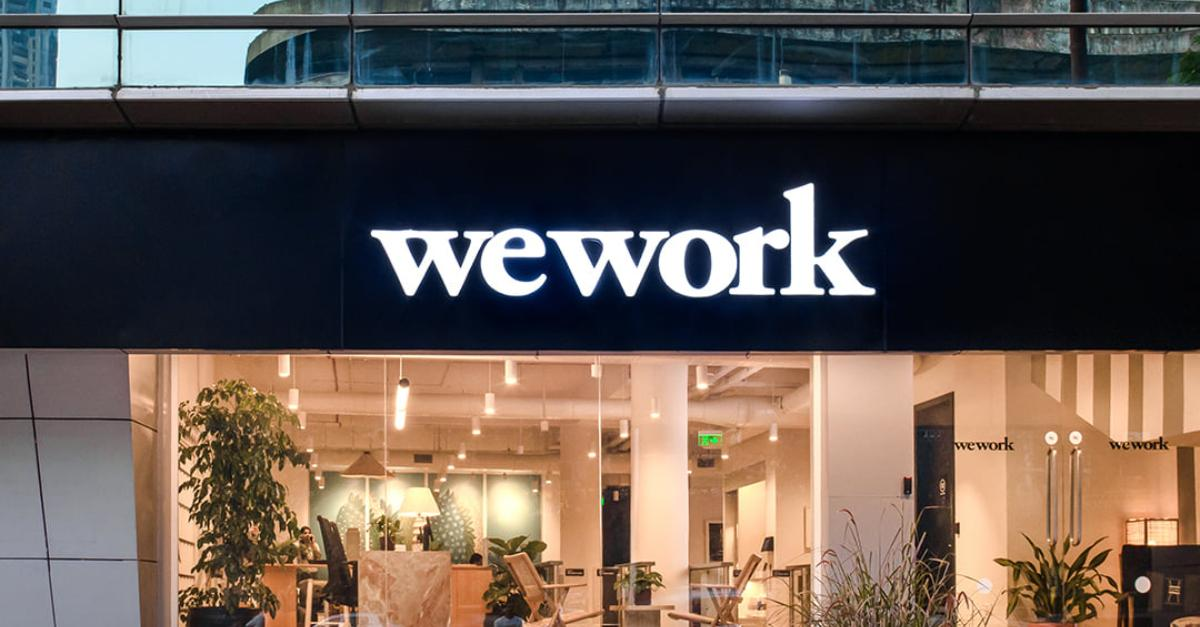 WeWork logo on a building