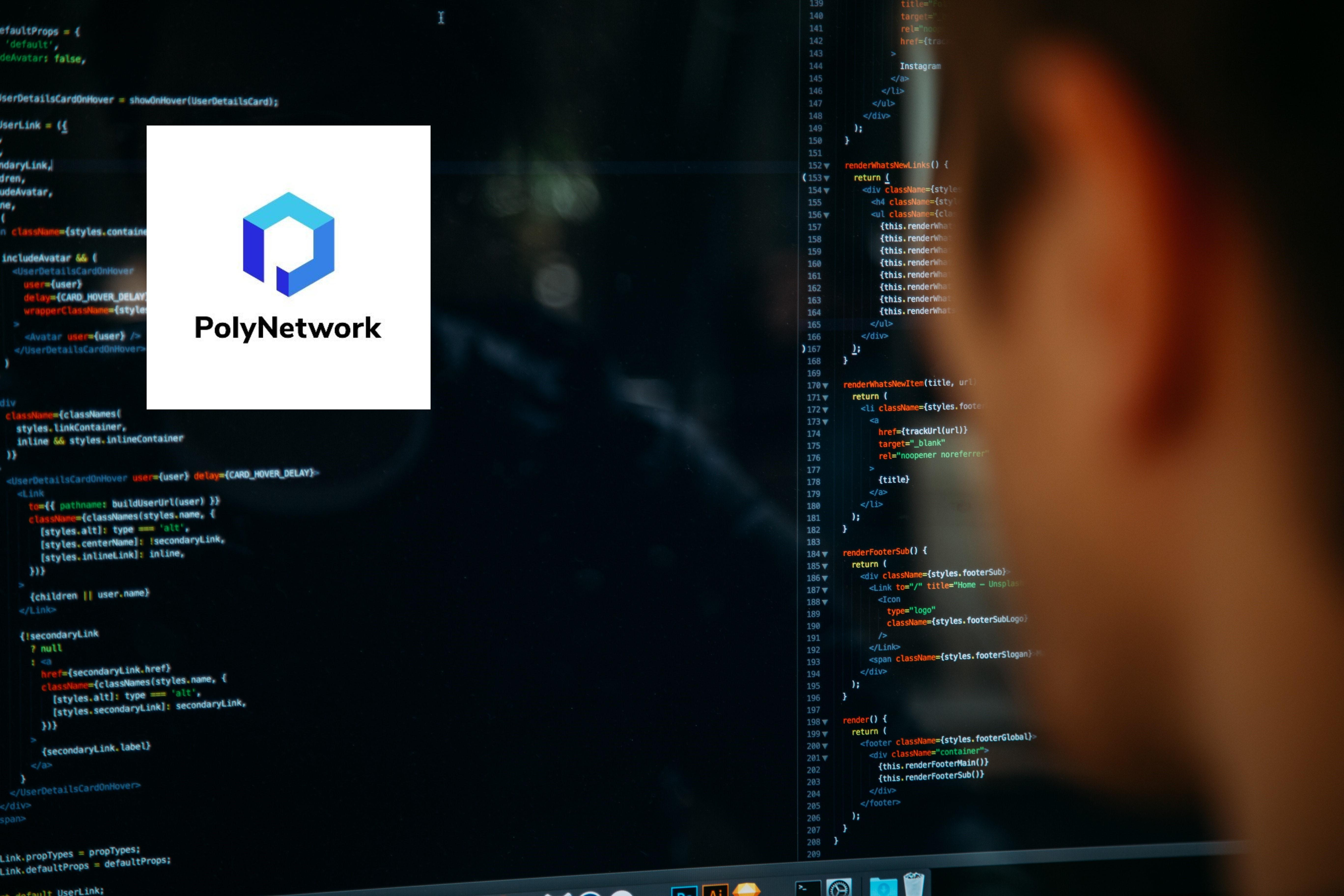 Poly Network logo over image of hacker coding on computer