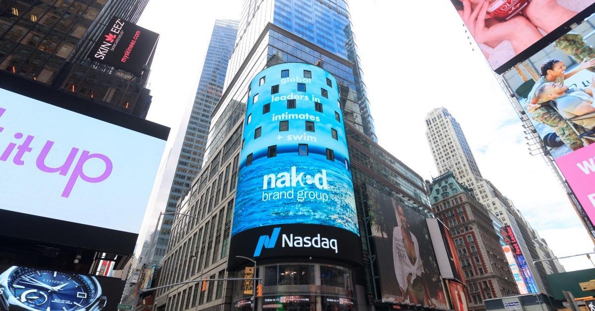 Naked Brand billboard on Nasdaq