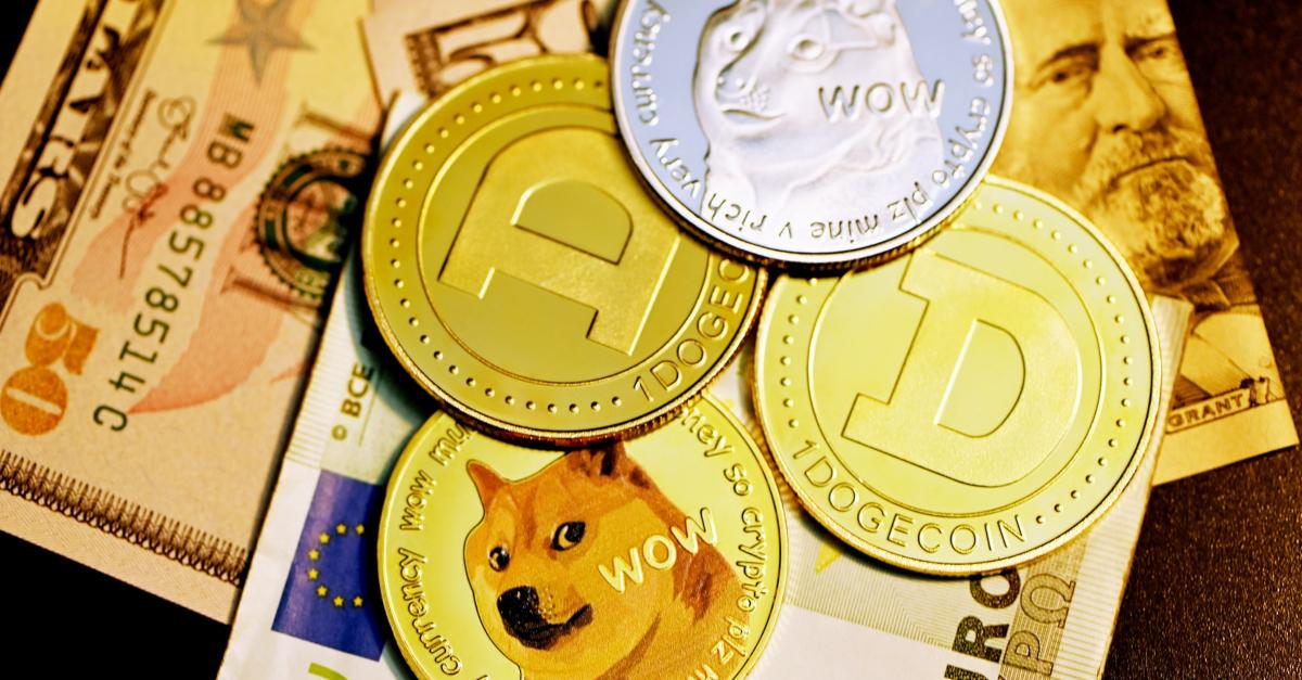 Dogecoin tokens and paper money