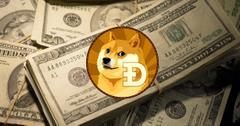 Dogecoin and dollar bills.