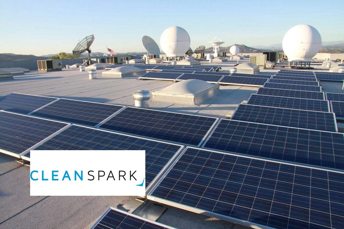 Solar panels and CleanSpark logo